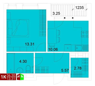 Продажа однокомнатная квартира 36.30м2 в ЖК Квартал Новаторов секция ж - Фото 1