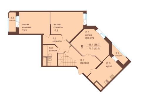 Двухуровневый пяти-комнатный пентхаус с террасой. Мытищи, 3 км от МКАД - Фото 4