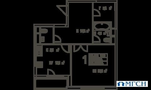 1-комн квартира в ЖК Дыхание 60,6 м2 - Фото 1