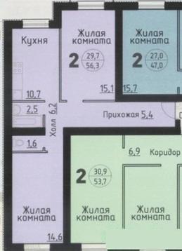 Продается 2-комнатная квартира 56.3 кв.м. этаж 3/3 ул. Георгия Амелина - Фото 2
