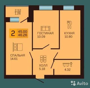 2-к квартира, 47 м, 2/3 эт. - Фото 2