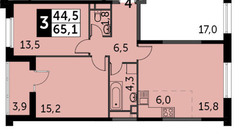 Продаю 3 комнатную квартиру, 65.1 кв.м. - Фото 5