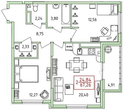 Продажа двухкомнатной квартиры Солотчинское шоссе 20к3 - Фото 5