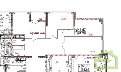 Просторная трёхкомнатная 91 кв.м. в новом ЖК на улице Есенина, 9 - Фото 2