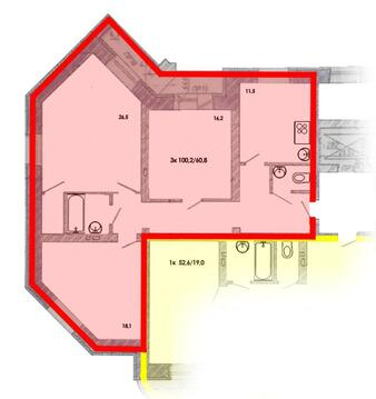 Продажа трехкомнатная квартира 100.2м2 в ЖК Центрум-2 сапожникова 7 - Фото 1