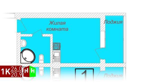 1 716 000 Руб., Продажа однокомнатные апартаменты 26.0м2 в ЖК Олимп, Купить квартиру в Екатеринбурге по недорогой цене, ID объекта - 315127772 - Фото 1