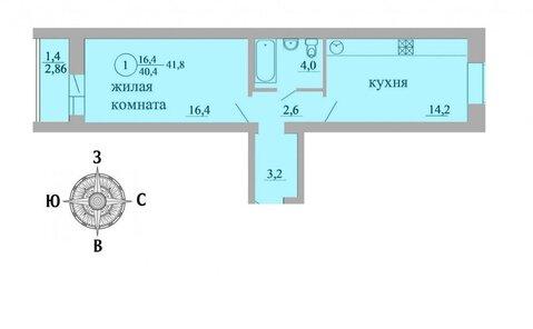 Продажа 1-комнатной квартиры, 41.8 м2, Березниковский переулок, д. 34 - Фото 1