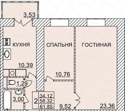 2к квартира 62м2 с инд.отоплением - Фото 2