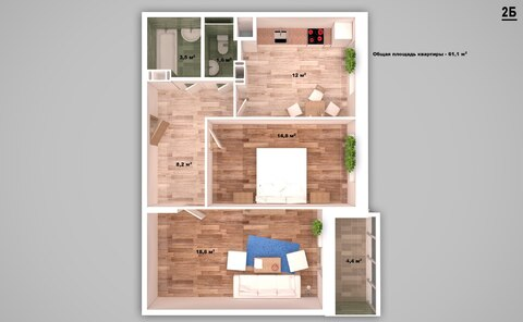 Просторная двухкомнатная квартира - Фото 2