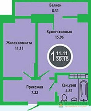 1 комнатная квартира в новом доме, ул. Голышева, д.10 - Фото 5