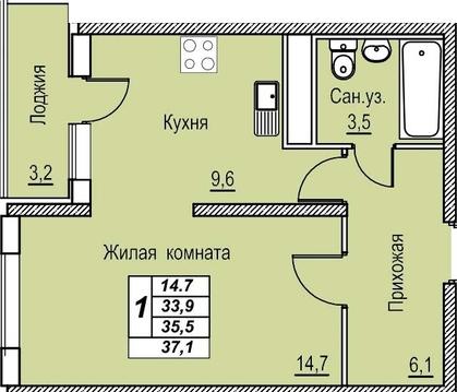 ЖК Академический. 1-комн. 37 кв.м. 5/19 эт. 1395 тыс.руб - Фото 2