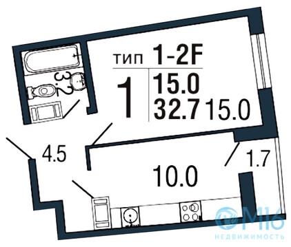 Продажа 1-комнатной квартиры, 32.7 м - Фото 2