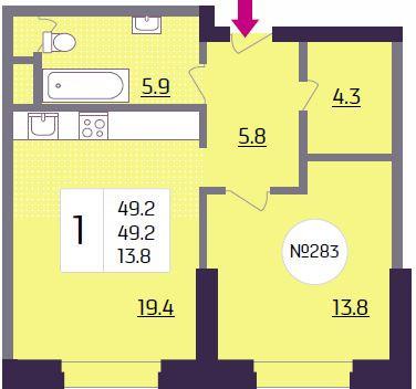 Продается 1-комн. квартира, 49.2 м2 - Фото 1