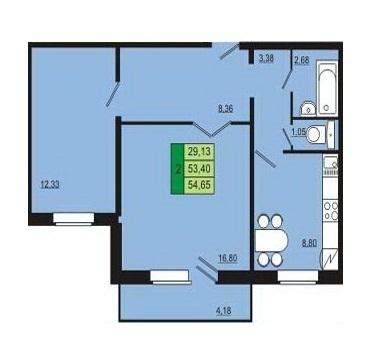 Продается 2-х комнатная ул.Весенняя д.8, площадью 54 кв.м, на 2 этаже - Фото 1