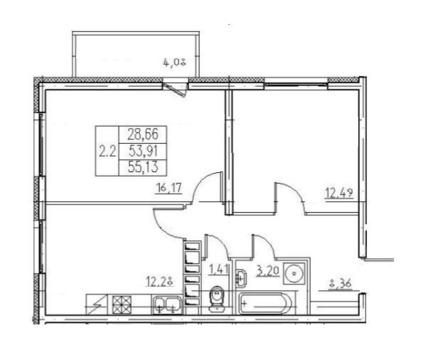 Продажа 2-комнатной квартиры, 55 м2, Комендантский проспект, д. 69 - Фото 2