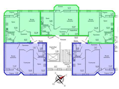 Продажа двухкомнатная квартира 59.27м2 в ЖК Кольцовский дворик дом 4. . - Фото 2