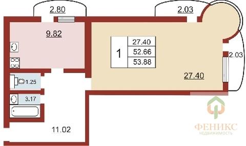 Очень большая 1 ка в Романовке, в новом доме, 60 квм. - Фото 2