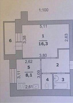 Однокомнатная, б. строителей, свежий дом, ремонт под ключ, индив.отопл - Фото 2