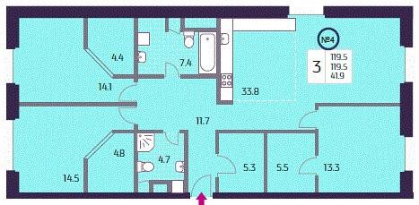 Продается 3 комн. квартира, 119.5 м2 - Фото 1