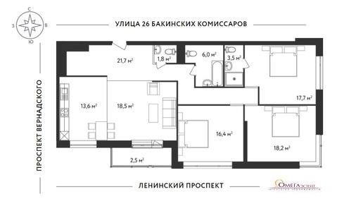 Продам 4-к квартиру, Москва г, Ленинский проспект 154к2с1 - Фото 3