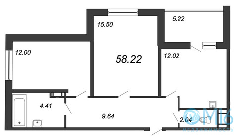 Продажа 2-комнатной квартиры, 58.22 м2 - Фото 2