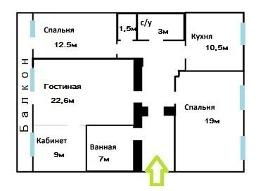 Роскошная двусторонняя 4-к.кв. с мебелью в кирпичном доме - Фото 4