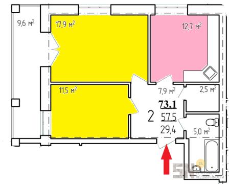 3 801 200 Руб., Элитный дом, Купить квартиру в новостройке от застройщика в Владимире, ID объекта - 319646166 - Фото 1
