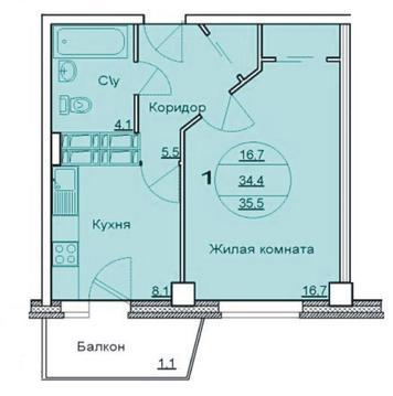 Продается 1 комнатная квартира в новостройке (Советском район)
