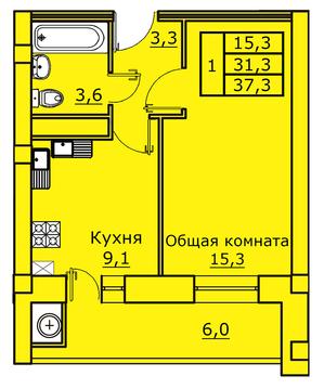 ЖК Аристократ, 1-комн. квартира, 37 кв.м, 3/9 этаж. - Фото 2