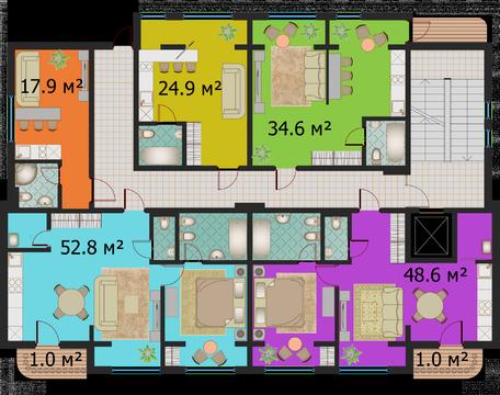 1-комнатная квартира студийной планировки в самом центре города - Фото 3