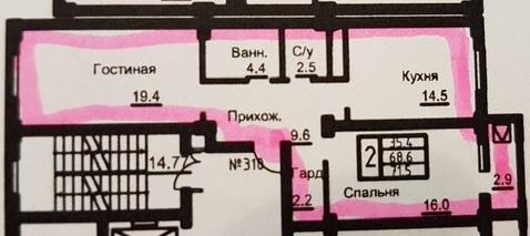 ЖК Барин. 2-хкомн, 72 кв.м.6/9 эт. 3750 тыс.руб