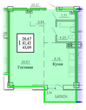 2 411 325 Руб., Продажа однокомнатная квартира 45.93м2 в ЖК Рудный секция 1.4, Купить квартиру в Екатеринбурге по недорогой цене, ID объекта - 315127733 - Фото 1