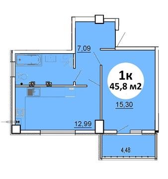 1-комн. квартира, 45,8 м2 в ЖК «Летчик» - Фото 2