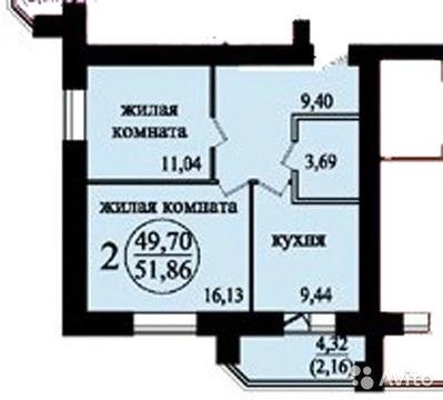2-к квартира, 52 м, 4/9 эт. - Фото 1