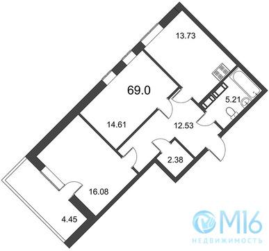 Продажа 2-комнатной квартиры, 69 м2 - Фото 2