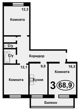Продажа квартиры, Тюмень, Ул. Ямская, Купить квартиру в Тюмени по недорогой цене, ID объекта - 318022244 - Фото 1