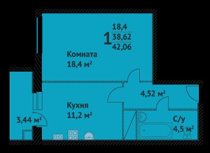 """1 ком квартира в ЖК""""Два капитана"""""""