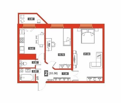 2 комн. квартира в новом доме, ул. Беляева, д.35 к 2, Звездный городок - Фото 2