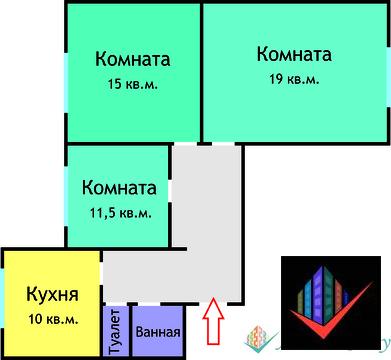 3-комнатная квартира с изолированными комнатами - Фото 4