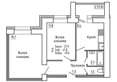 Продажа 2-комнатной квартиры, 64.3 м2, Пугачёва, д. 29а, к. корпус А - Фото 5
