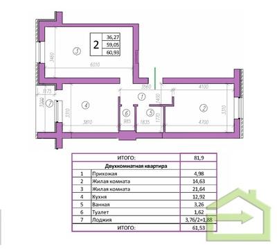 Двухкомнатная квартира в мкрне Центральный в Северном - Фото 1