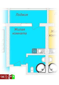 1 566 000 Руб., Продажа однокомнатные апартаменты 26.1м2 в ЖК Олимп, Купить квартиру в Екатеринбурге по недорогой цене, ID объекта - 315127773 - Фото 1