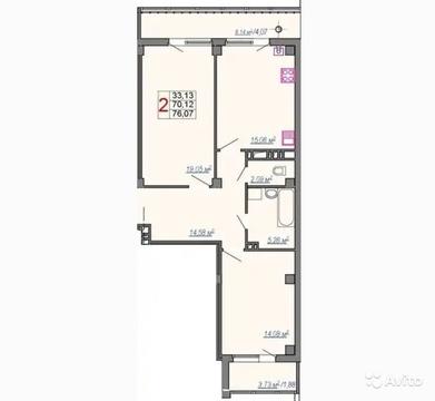 2-к квартира, 76 м, 2/7 эт.