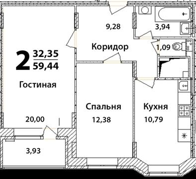 2 х комнатная квартира г Ногинск, ул. Интернационала , 226 - Фото 2