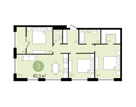3-комнатная квартира 82,3 кв.м г.Видное - Фото 1