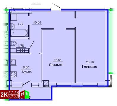 3 375 540 Руб., Продажа двухкомнатная квартира 67.68м2 в ЖК Рудный секция 1.3, Купить квартиру в Екатеринбурге по недорогой цене, ID объекта - 315127676 - Фото 1