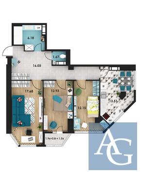 3 комнатная квартира 82 м2 в ЖК «Гагаринские высотки» - Фото 1