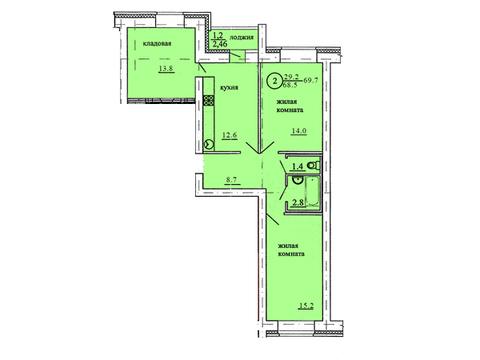 Продажа 2-комнатной квартиры, 69.7 м2, Березниковский переулок, д. 34 - Фото 1