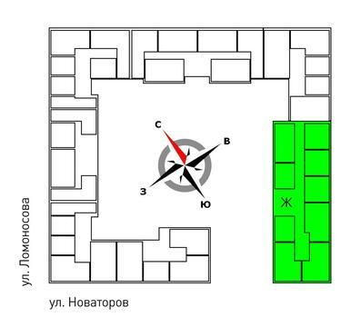Продажа однокомнатная квартира 45.6м2 в ЖК Квартал Новаторов секция ж - Фото 2