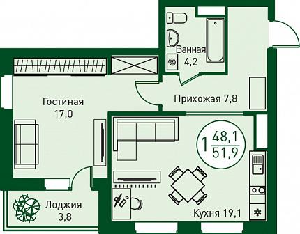 """Продаётся 1-комн.квартира в жилом комплексе """"Заречный"""", 48 кв.м. - Фото 4"""
